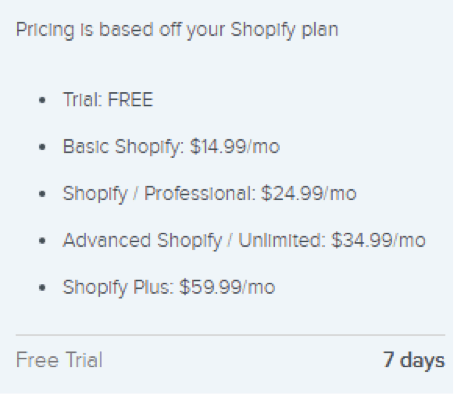 pricing shopify