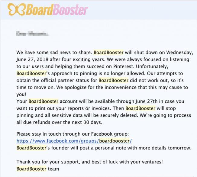 BoardBooster shutdown