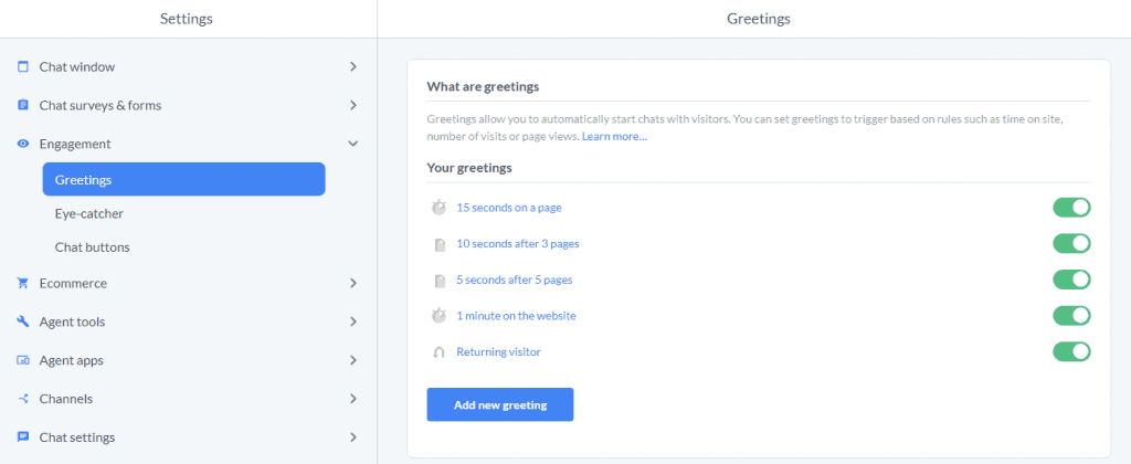 Livechat Create Greetings