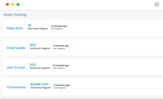 SendLane event tracking
