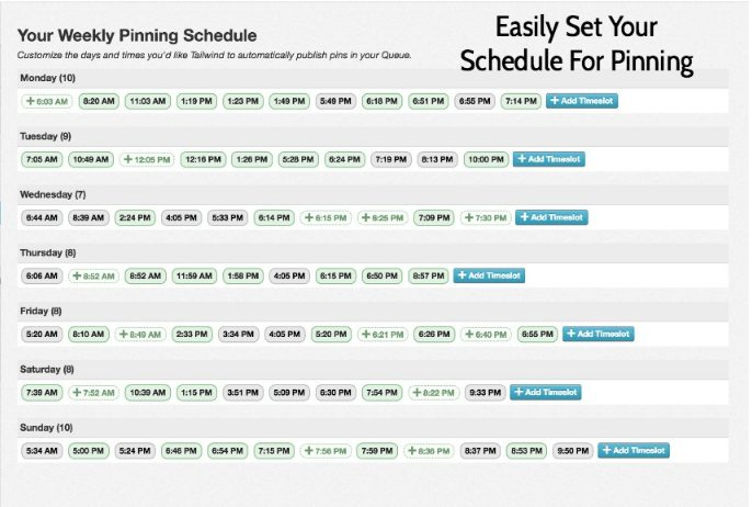 Tailwind weekly pinning schedule