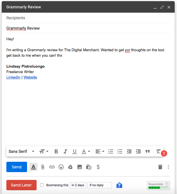 Grammarly Email Review