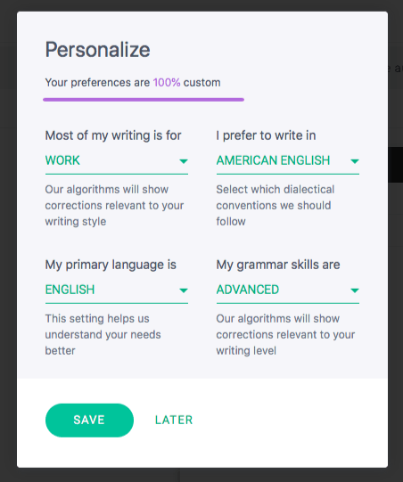 Grammarly Personalize