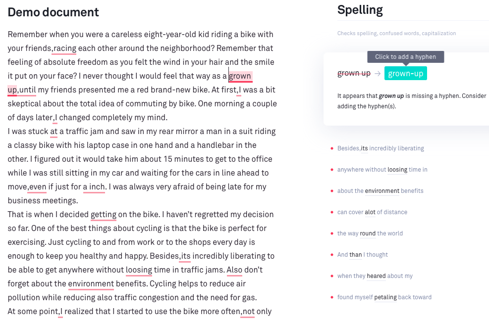 Grammarly Spelling Changes