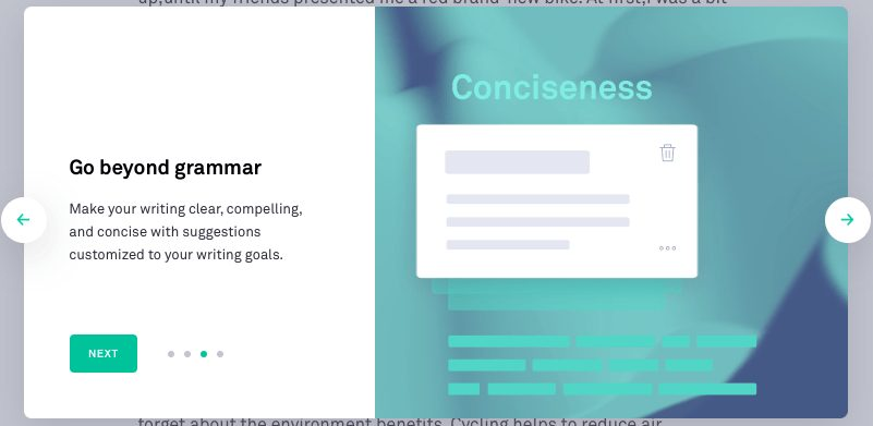 Grammarly Welcome Page Three