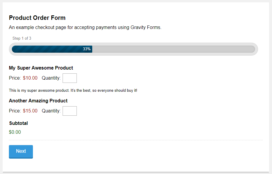 Gravity Product Order Form