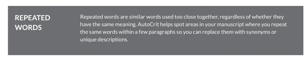 Autocrit repeated words