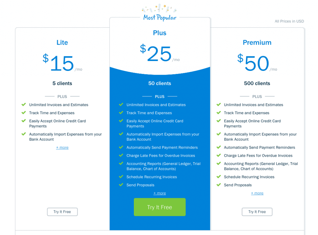 Freshbook Pricing Plans