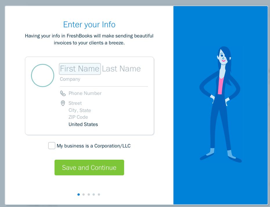 Freshbooks Enter Your Business Information Screenshot