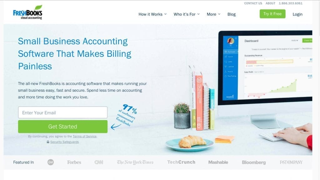 Freshbooks Home Page