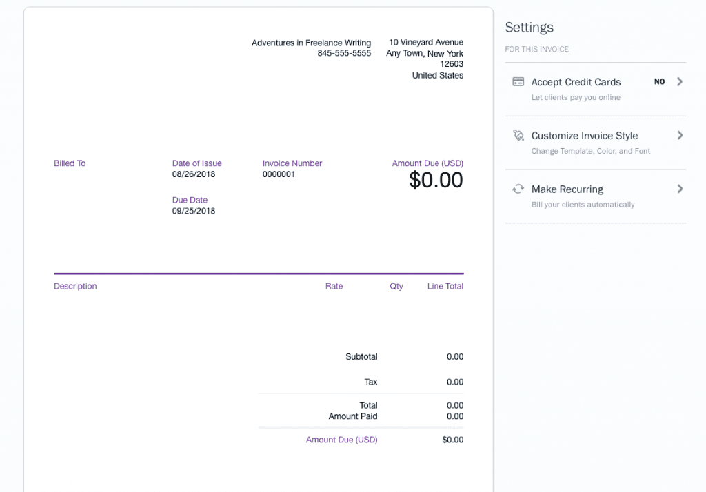 Freshbooks Invoice Editor Template