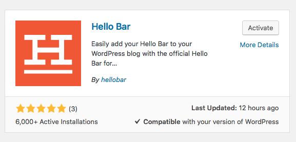 Hello Bar Active Install Plugin