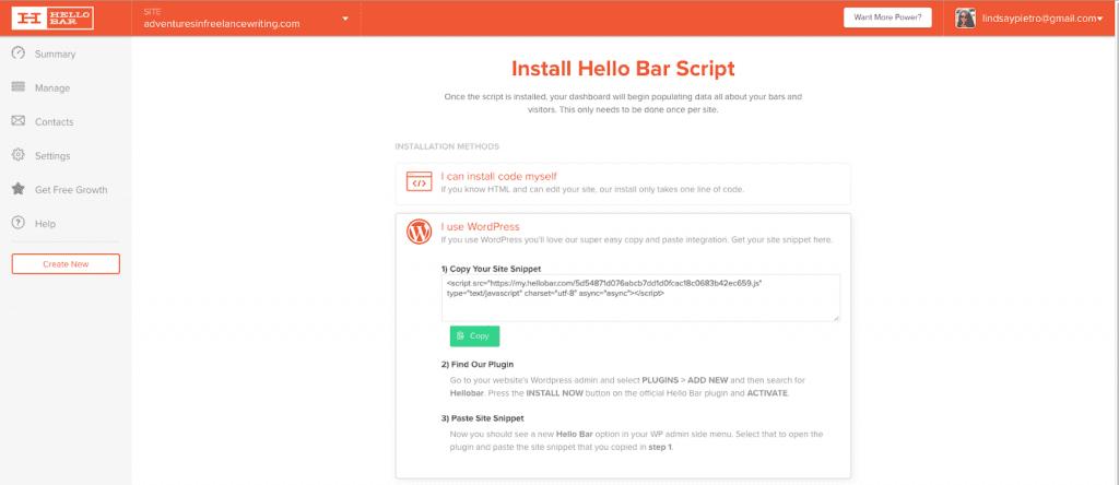 Hello Bar Install Bar Script