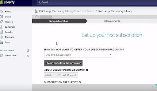 Shopify Setup Subscriptions