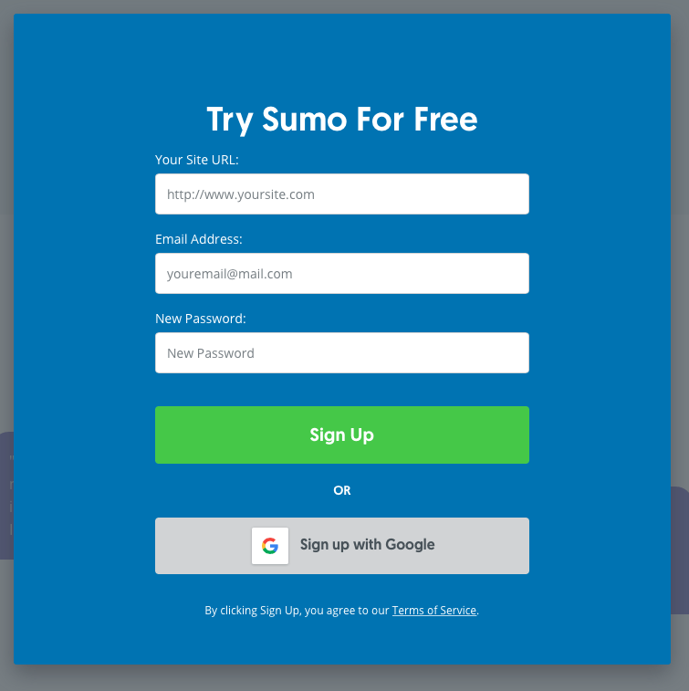 Sunmo Signup Page