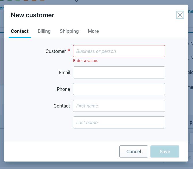 Wave Add New Customer tab