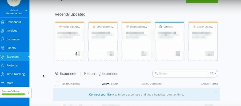 freshbooks expense tracking