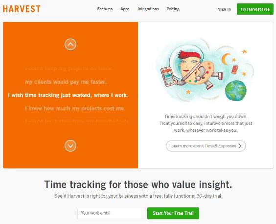 harvest homepage screenshot