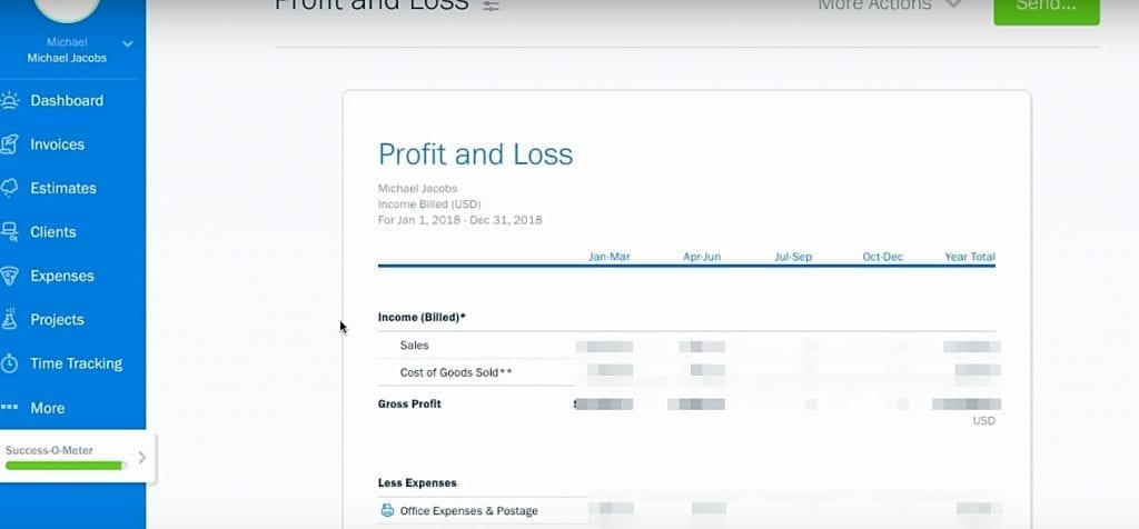 Freshbooks profit and loss