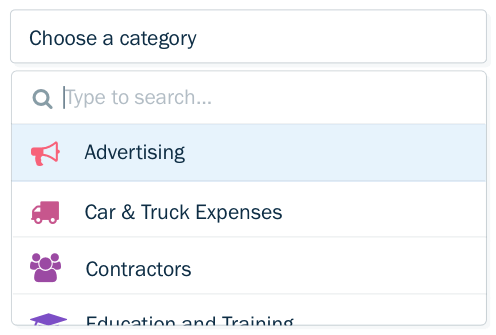 freshbooks expense categories