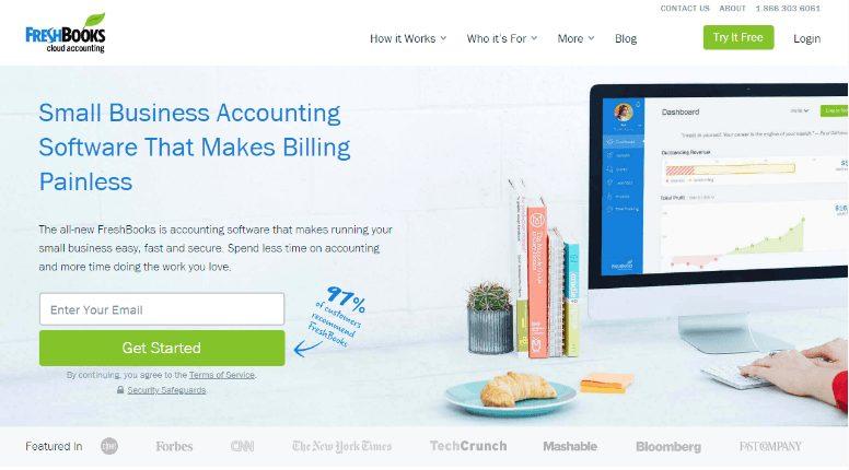 freshbook homepage
