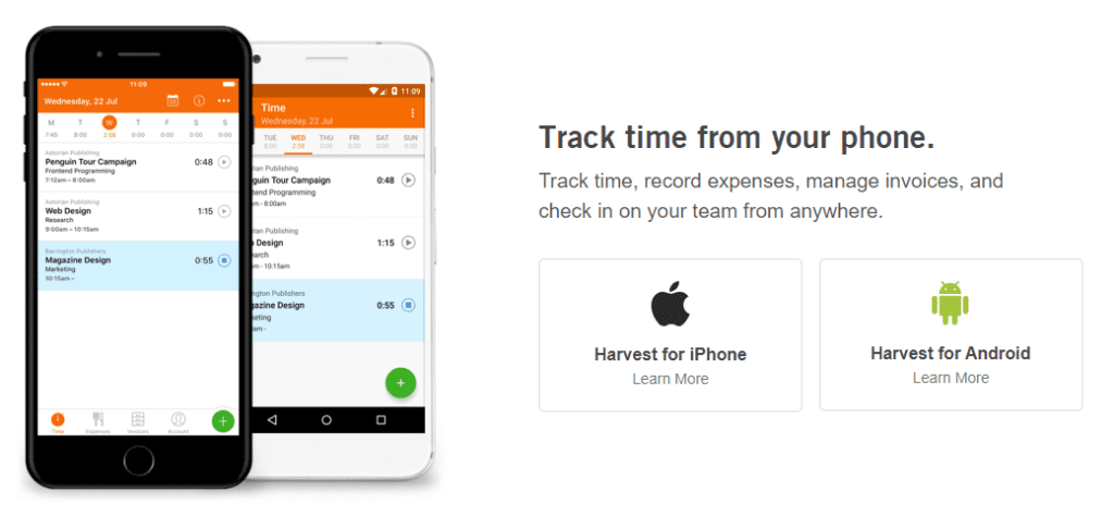 harvest app for your phone