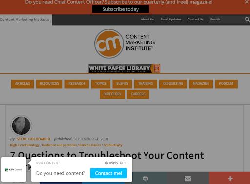 Sniply Cta display Screenshot