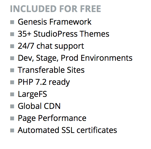 WP Engine features Included for Free