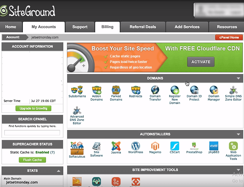 siteground dashboard
