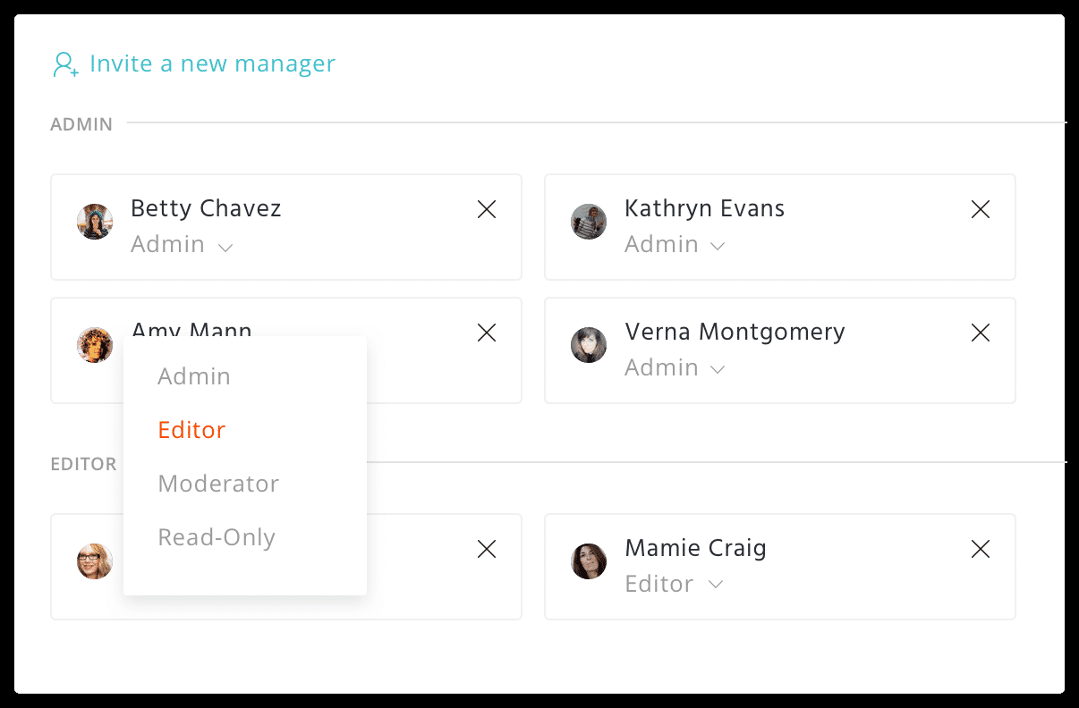 Agorapulse assign roles to team
