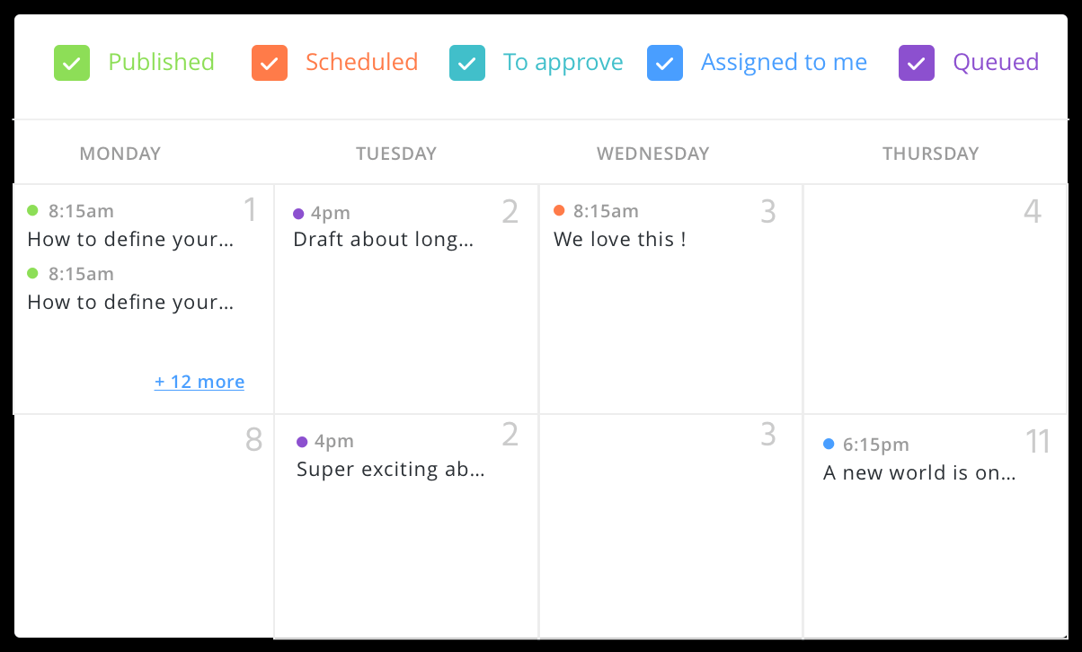 Agorapulse create and manage content calendar