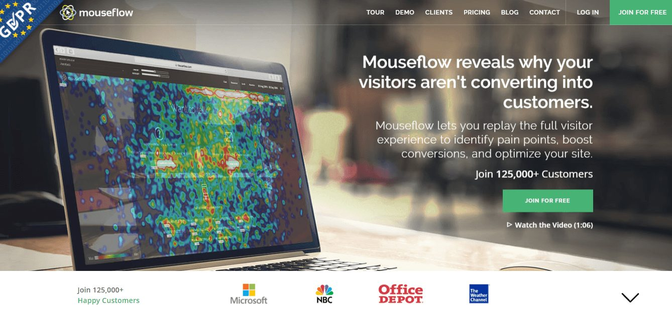 Mouseflow home page