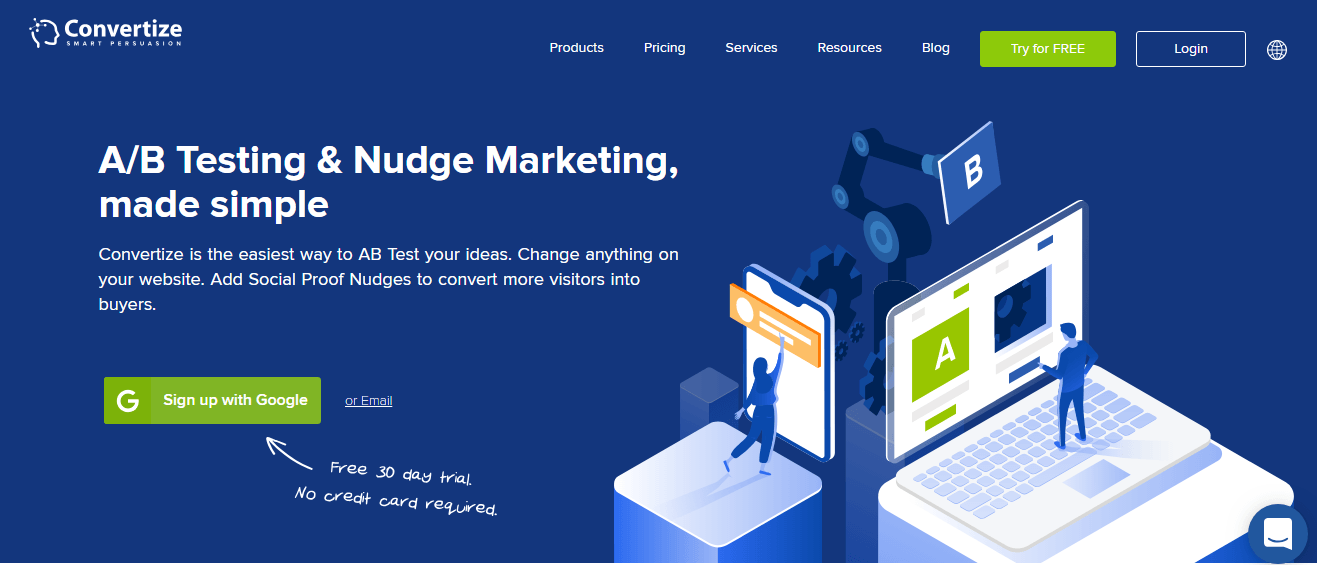Convertize home page