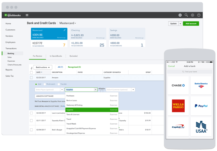 quickbooks bank and credit card dashboard