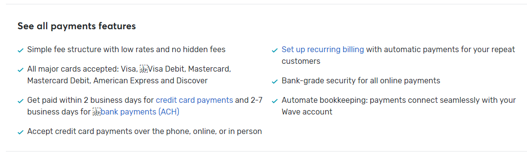 wave payment features