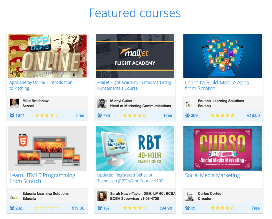 Eliademy featured courses