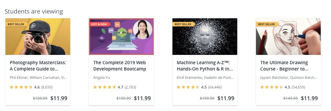 Udemy students are viewing top courses