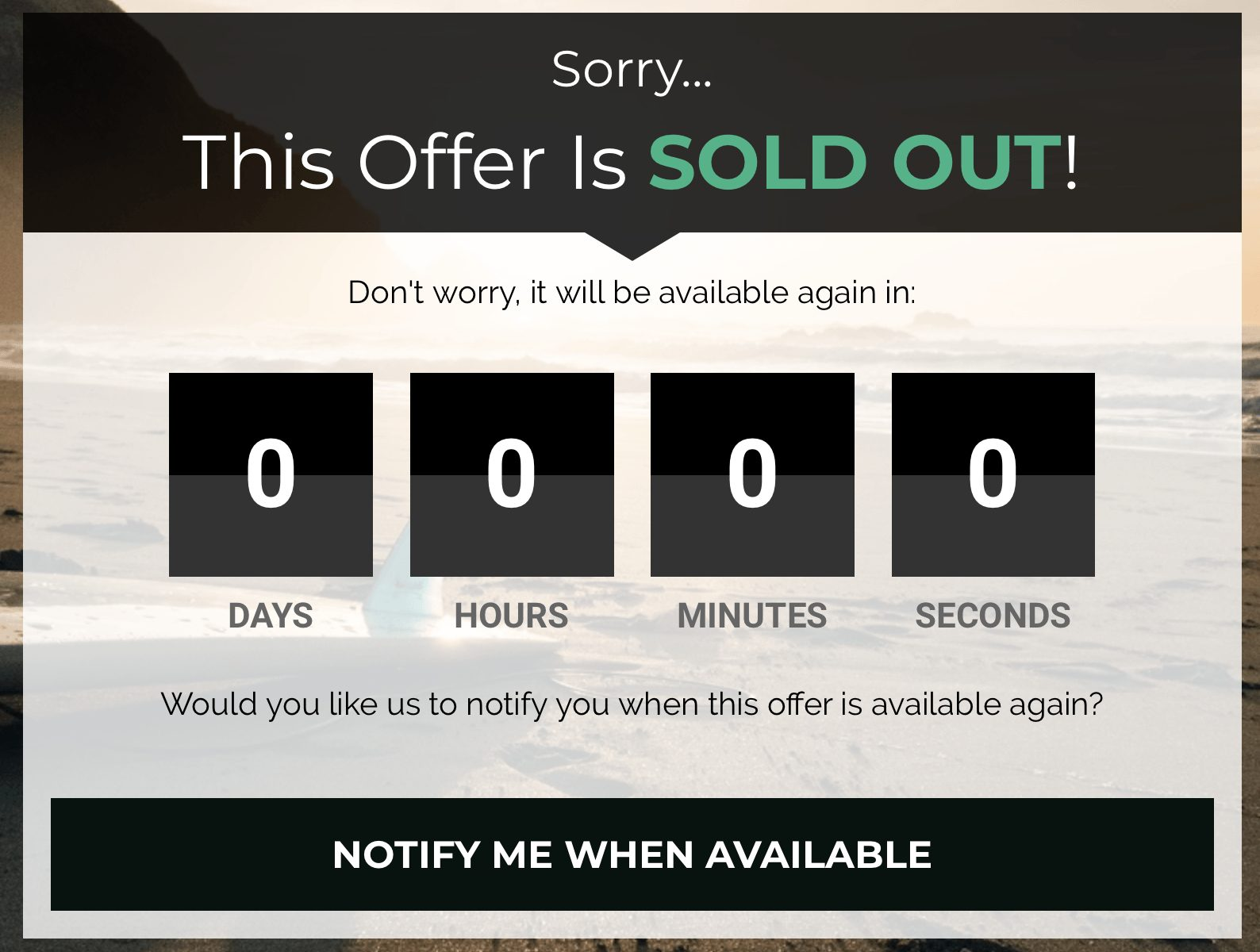 Leadpages example of creating a sense of scarcity for users to act