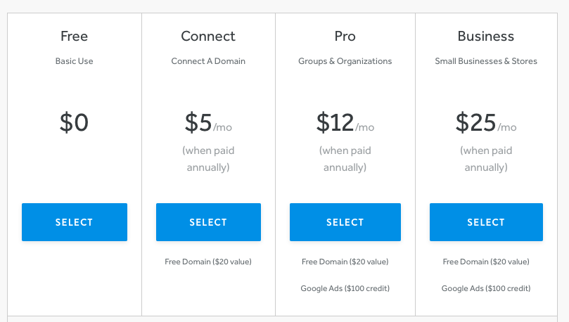 weebly pricing table