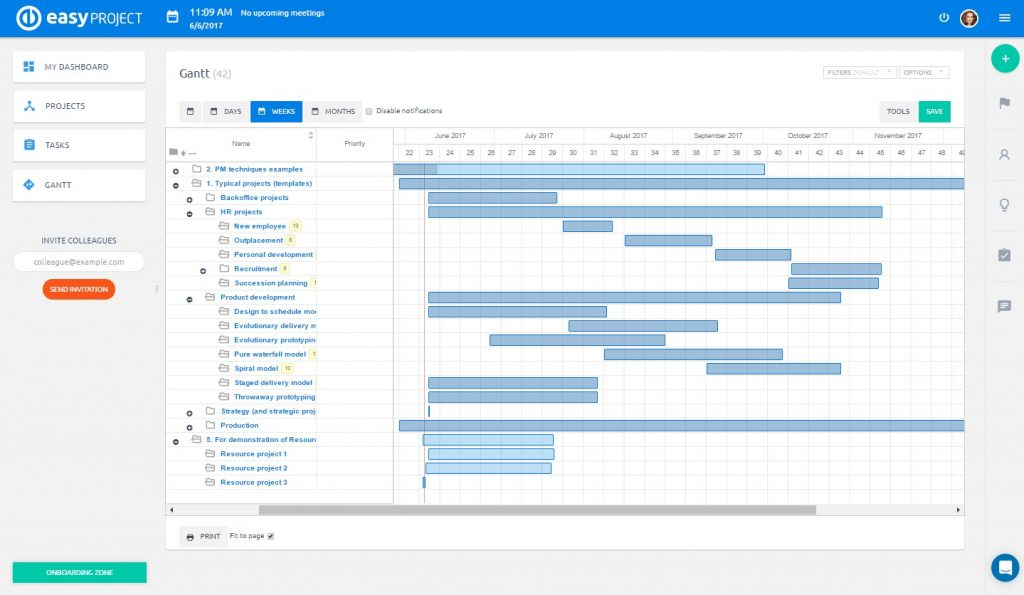 easy project gantt chart