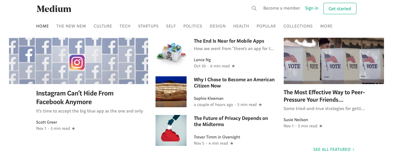 blogs on medium homepage