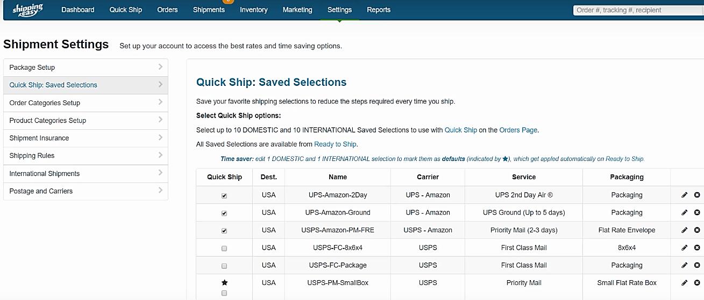 ShippingEasy shipment settings