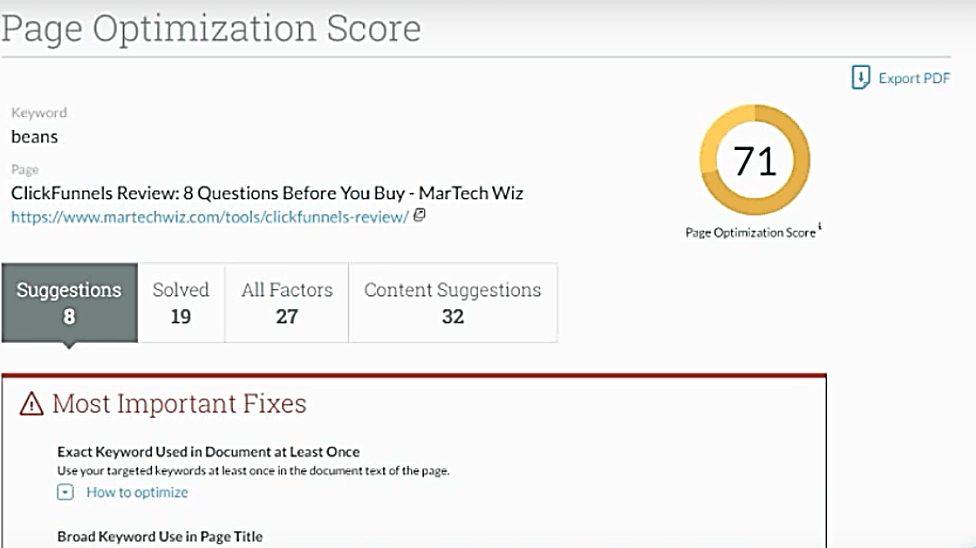 moz page optimization score