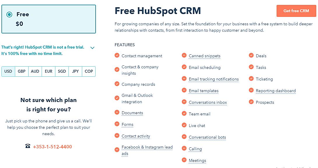 free hubspot crm