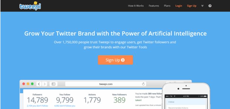 tweepi home page