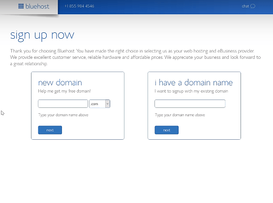 Bluehost sign up now