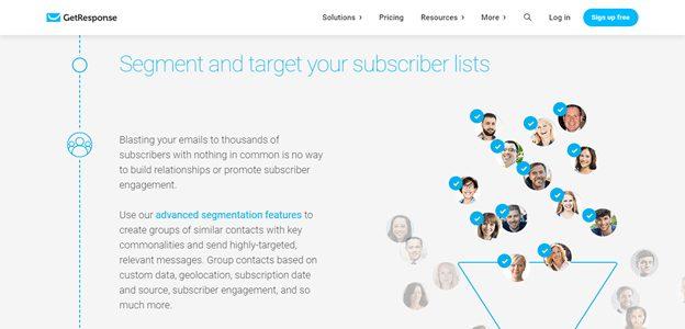 GetResponse subscriber lists