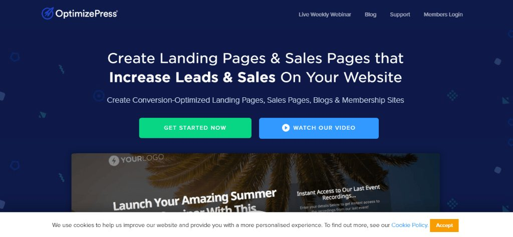 OptimizePress home page