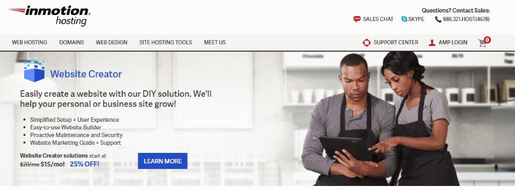 inmotion hosing homepage