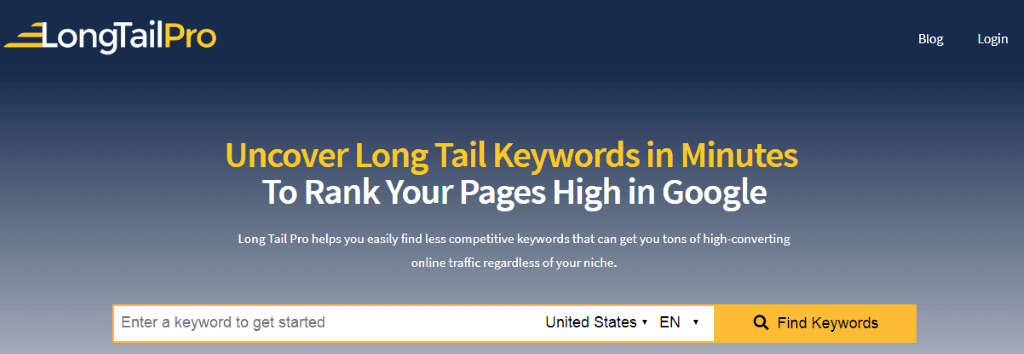 Long Tail Pro Homepage